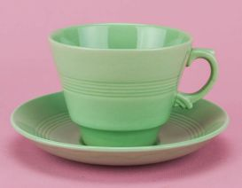 1950s green teacup